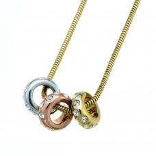 Chain Rings 3-tone crystal