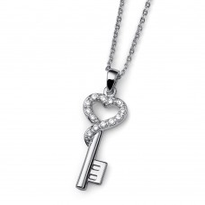 Chain Closed Heart rhod. crystal