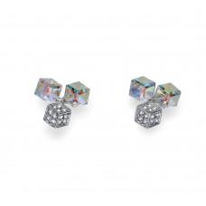 Earring Quad rhod. crystal AB