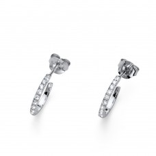 Post earring Hoopy small 925AG rhodium transparent