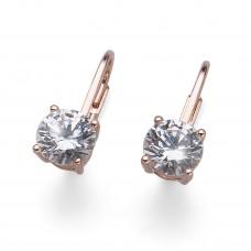 Earring Comfort 925AG rosegold crystal